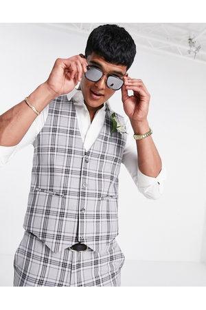 ASOS DESIGN Super skinny suit waistcoat in grey tartan check
