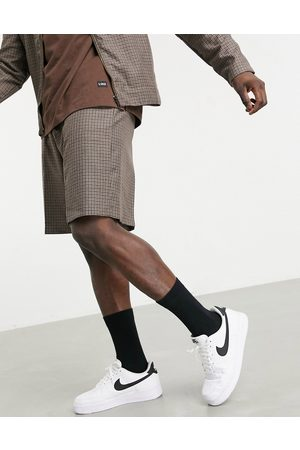 ASOS DESIGN Co-ord smart wide leg shorts with draw cord waist in brown mini check
