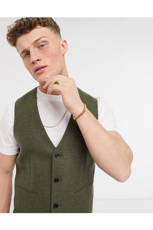 ASOS DESIGN Skinny wool mix suit waistcoat in khaki twill-Green