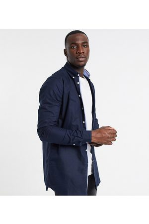 Duke Long sleeve buttoned down oxford shirt-Navy