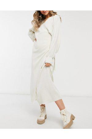 Pretty Lavish Wrap knit dress with tie waist in cream