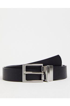 ASOS DESIGN Slim reversible belt in black and suede faux leather