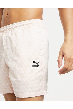 Puma Summer luxe 6inch satin aop shorts in pink