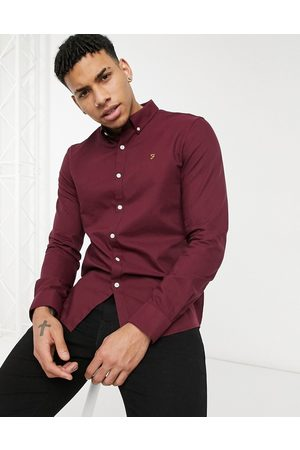 Farah Brewer slim fit organic cotton oxford shirt in burgundy-Red