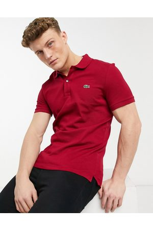 Lacoste Slim fit pique polo in burgundy-Red