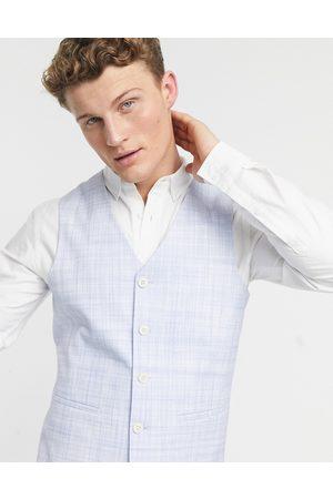 ASOS DESIGN Wedding skinny suit waistcoat in pastel blue crosshatch-Stone