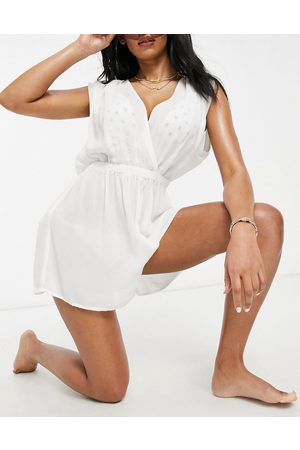 ASOS Fuller bust crinkle gathered plunge beach playsuit in white
