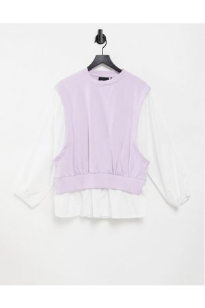 Pieces 2 in 1 shirt and knitted vest in lilac-Purple