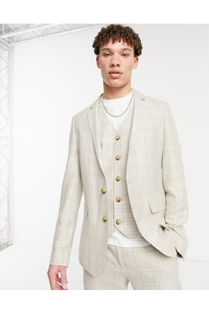 ASOS DESIGN Summer wedding range super skinny suit jacket in camel with stripe-Beige