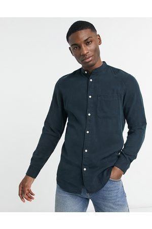 Selected Homme Pastel slim fit long sleeve shirt-Navy