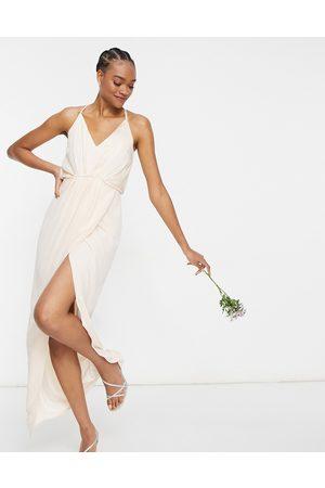 TFNC Bridesmaid satin halterneck top maxi dress in light blush-Cream
