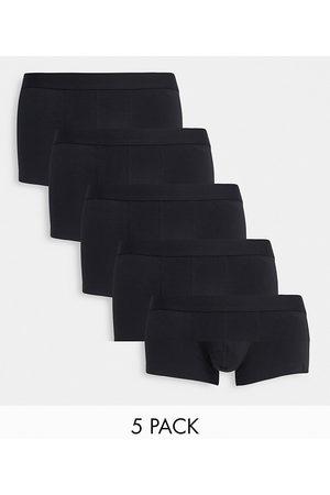 ASOS DESIGN 5 pack short trunks in black