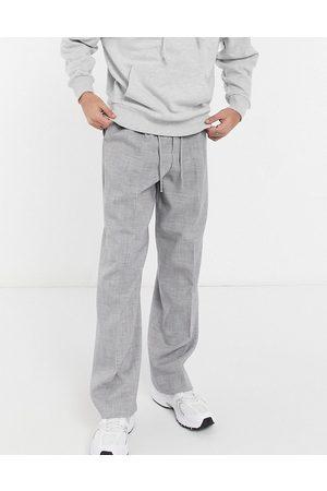 ASOS DESIGN Wide leg smart jogger in grey cross hatch