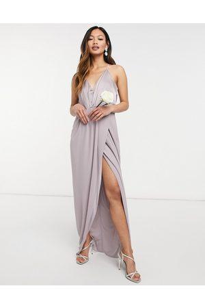 TFNC Senhora Decote de Halter - Bridesmaid satin halterneck top maxi dress in grey