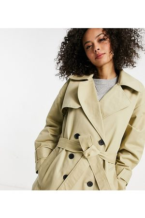 ASOS DESIGN Tall check spliced oversized trench coat in stone