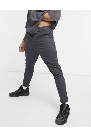 ASOS DESIGN High waisted cigarette chino trousers in charcoal-Grey