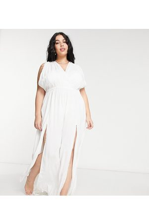 ASOS ASOS DESIGN curve recycled gathered detail maxi beach dress in white