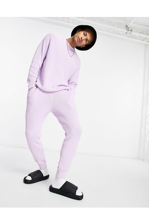 ASOS DESIGN Ribbed co-ord cotton joggers in lilac-Purple