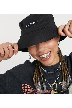 Collusion Unisex bucket hat with logo patch-Black
