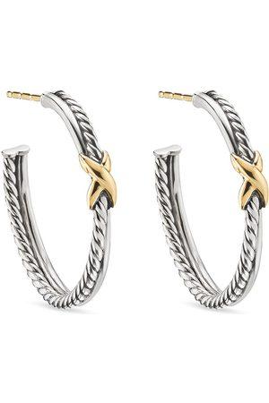 David Yurman 18kt yellow gold X hoop earrings