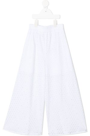 MONNALISA Perforated-detail cotton trousers