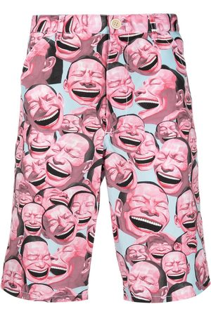 Comme des Garçons Homem Bermudas - Laughter print shorts