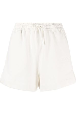Ganni Mulher Calções - Logo-embroidered drawstring track shorts