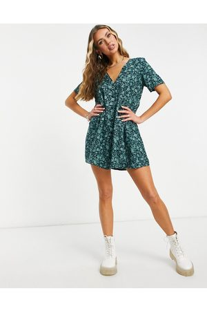 Motel Button front mini tea dress in green floral