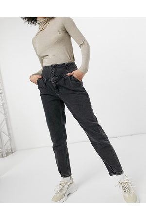 River Island High waisted straight cut peg jeans in washed black