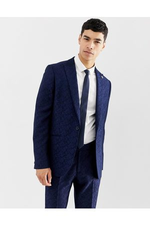 Farah Farah Hookstone party skinny suit jacket in floral jacquard-Navy