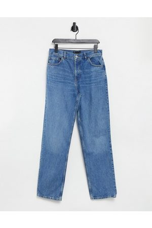 ASOS Organic mid rise '90s' straight leg jeans in midwash-Blue