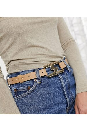 My Accessories London Exclusive waist and hip jeans belt with interlocking chain link detail in camel-Beige