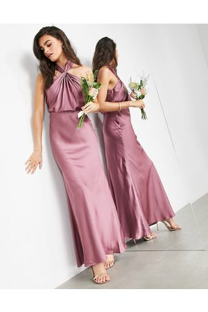 ASOS Satin ruched halter neck maxi dress in orchid-Purple