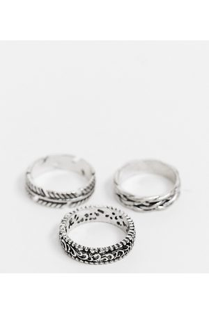 Reclaimed Vintage Homem Anéis - Inspired ring multipack with feather detail in silver