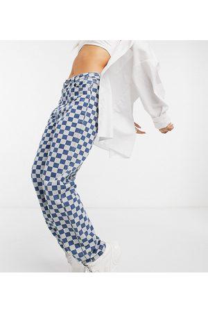 One Above Another Senhora Retos - Straight leg jeans in checkerboard denim-Blue