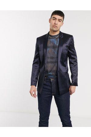 ASOS Slim blazer in high shine navy