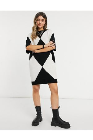 ASOS Knitted mini vest dress with crew neck in argyle pattern-Multi