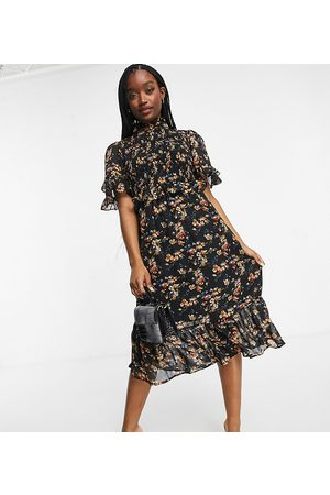 Missguided Midi dress with high neck in black floral