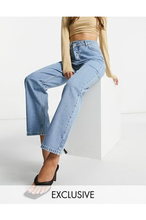 I saw it first Double button waist detail straight leg jean in blue