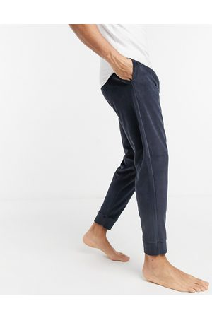 Tommy Hilfiger Lounge velour navy joggers with logo waistband