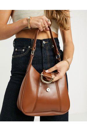 ASOS Saddle shoulder bag with hardware in glossy tan