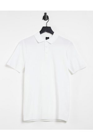 River Island Knitted polo in white