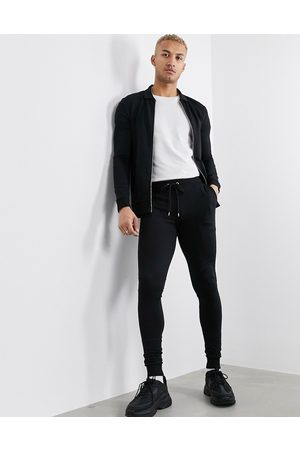 ASOS Muscle tracksuit with harrington jacket in black