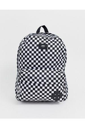 Vans Old Skool III Checkerboard backpack in white and black