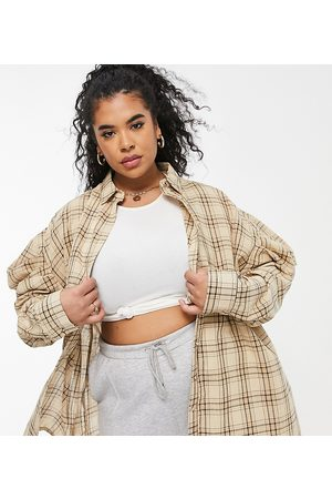 Missguided Oversized poplin shirt with volume sleeve in cream check