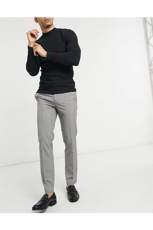Burton Slim smart trousers in brown dogtooth-Grey