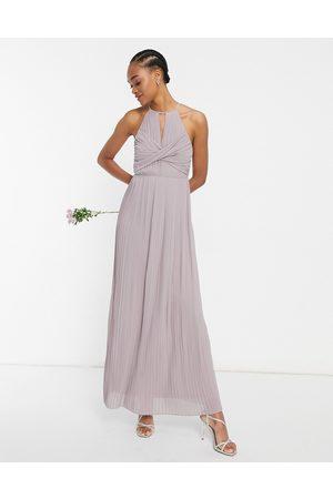 TFNC Senhora Vestidos Compridos - Bridesmaid pleated wrap detail maxi dress in grey