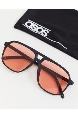 ASOS 70s aviator sunglasses in black with red lens