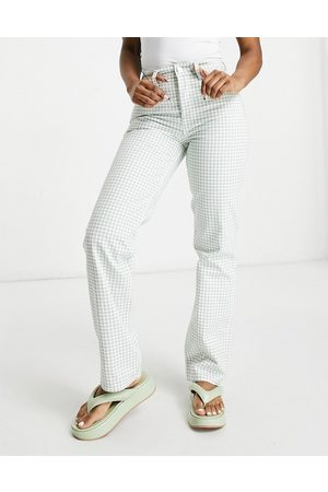 adidas Senhora Retos - Mid rise '90's straight leg jeans in green gingham