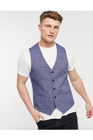 adidas Checked slim fit waistcoat in blue and black